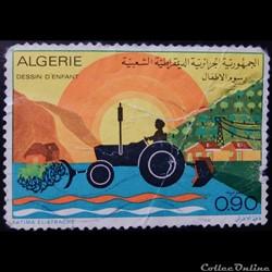 Algérie 00589 dessin de tracteur 0.90d d...