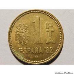 Espagne, 1 peseta de 1980, étoile 1980