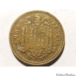 Espagne, 1 peseta de 1953, étoile 1963