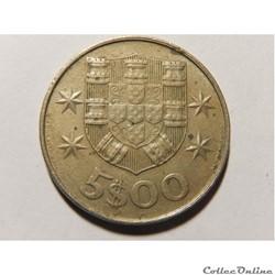 Portugal, 5 escudos de 1977
