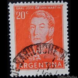 Argentine 00555 général José Francisco de San Martin 20c de 1955