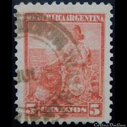 Argentine 00115 allégorie, liberté assise 5c de 1899