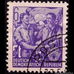 Allemagne RDA 00150 ouvriers 6pf de 1953