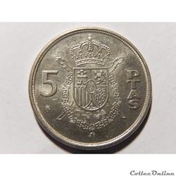 Espagne, 5 pesetas de 1989