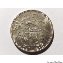 Espagne, 5 pesetas de 1957