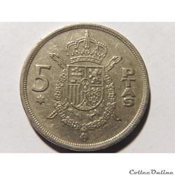 Espagne, 5 pesetas de 1975