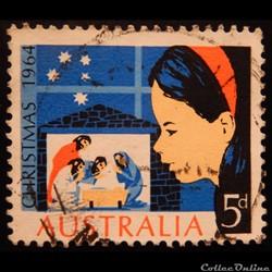 Australie 00307 fille regardant la scène de la nativité 5d de 1964