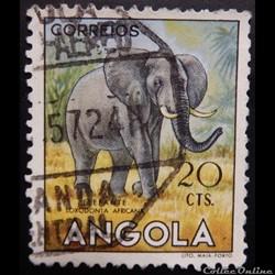 Angola 00359 Eléphant 20cts de 1953