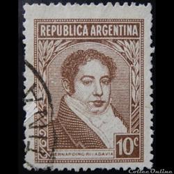 Argentine 00395 Bernardino Rivadavia 10c de 1939