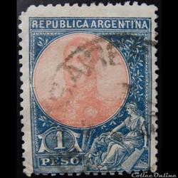 Argentine 00147 général José Francisco de San Martin 1p de 1909