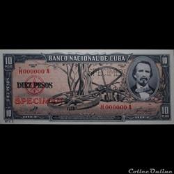 10 pesos 1960 Spécimen (Trouée)