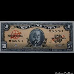50 pesos 1960 Muestra