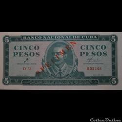 05 Pesos 1961 Spécimen