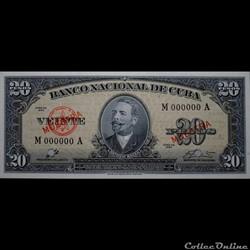20 pesos 1960 Muestra