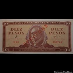 10 Pesos 1961 Spécimen