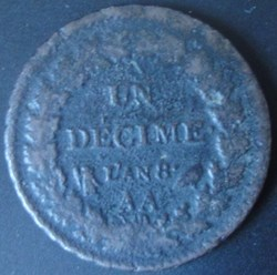 1 décime Dupré l'An 8 AA
