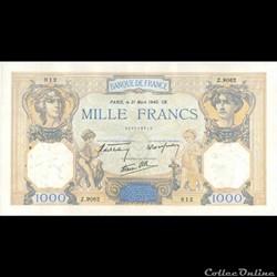 1000 Francs Cérès et Mercure 1940