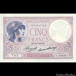 5 Francs violet 1933