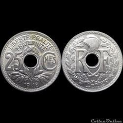 1918 - 25 cts non souligné