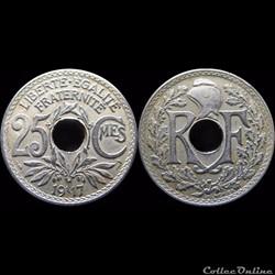 1917 - 25 cts non souligné
