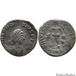 01.24b4. Theodosius - nummus (Victory, K...