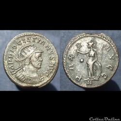 Diocletien antoninien Lyon Pax (casqué)