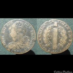 Louis XVI 2 sols aux faisceaux Paris 179...