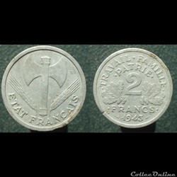 Etat français, 2 francs, 1943