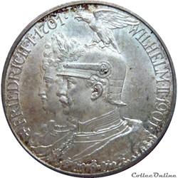 ALLEMAGNE - PRUSSE 2 Mark Guillaume II 2...