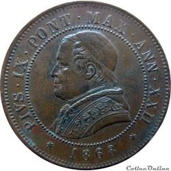 VATICAN ET ÉTATS PONTIFICAUX 4 Soldi (20 Centesimi) Pie IX an XXIII 1868 R (Rome) Mont.403