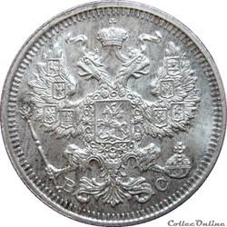 RUSSIE 20 Kopecks aigle bicéphale 1915 B...