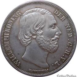 PAYS-BAS 2 1/2 Gulden Guillaume III 1852...