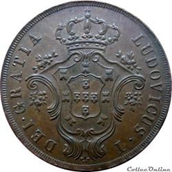 AÇORES 20 Réis Louis Ier (Luis) 1865 Gom...