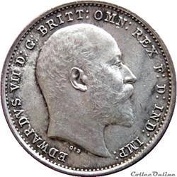 EN VENTE 3 Pence Edouard VII / Couronne ...
