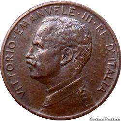 ITALIE 1 Centesimo Victor Emmanuel III 1915 R (Rome) KM.20/35