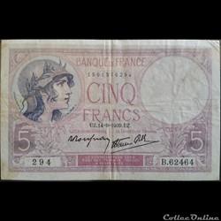 Cinq Francs 14-09-1939