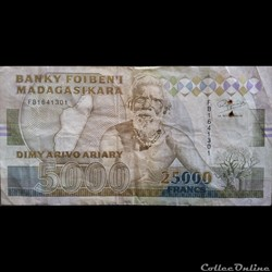 5000 Ariary 25 000 francs