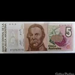 5 Australes ÉMISSIONS DE 1985 À 1991