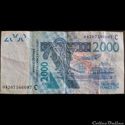 billet afrique coree du sud 2000 francs cfa 2003