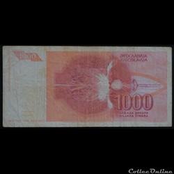 billet asie chine 1000 dinara 1992