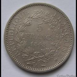 5 Francs Hercule 1848 A