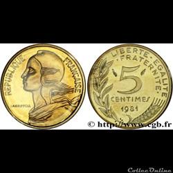 5 centimes 1981 'marianne'