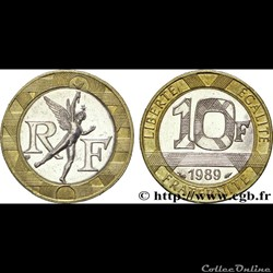 10 francs 1989' génie de la bastille'