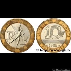 10 francs 1988' génie de la bastille'