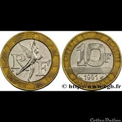 10 francs 1991' génie de la bastille'