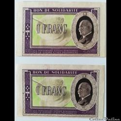 Bon de solidarité Vichy 1 Francs