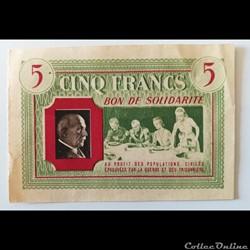 Bon de solidarité Vichy 5 Francs