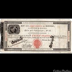 Bon de 100 francs - 1er Frimaire AN 12