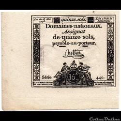 Assignat de 15 sols - 23 mai 1793