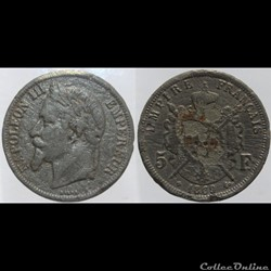 Second Empire - 5 francs - 1869 BB, faus...